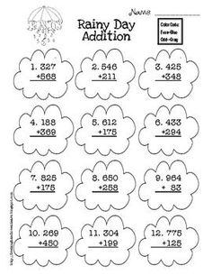 Weather themed three digit addition with and without regrouping.Students color the clouds using even/odd color code.Graphics courtesy of Sc. Addition Worksheets, Math Addition, Classroom Freebies, Math Classroom, Second Grade Math, Guided Math, Math For Kids, Student Teaching, School Fun