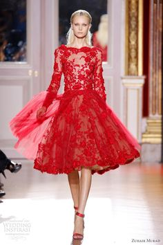 Evening gown, couture, evening dresses, formal and elegant zuhair murad fall 2012 couture long sleeve short red lace dress Trendy Dresses, Nice Dresses, Short Dresses, Prom Dresses, Dresses 2013, Wedding Dresses, Bridal Gowns, Graduation Dresses, Sleeve Dresses