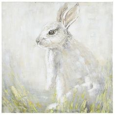 Ever alert and quite adorable, our curious cottontail takes a moment to scope out its surroundings. What will it see? Your living room, bedroom or hallway? No matter where it goes, the muted gray palette offers a soothing addition to any space.