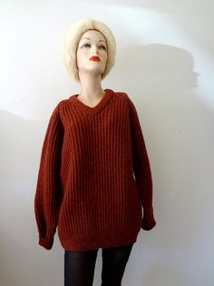 1970s Wool Sweater / chunky rib knit v neck pullover / autumnal rust red
