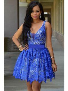 Rochie babydoll, eleganta, cu dantela albastra si captuseala crem - Wildfashion Tutu, Royal Blue, Beautiful Dresses, Black Women, Girl Outfits, Clothes For Women, Formal Dresses, Illusion, Lace Dress