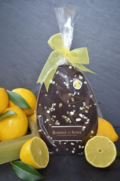 Sicilian Lemon Crunch Easter Egg Bar - 70% Dark chocolate infused with natural Sicilian lemon oil, and topped with tart, lemon sugar crystals and sweet, crunchy meringue.