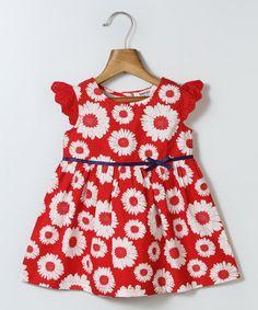 Look what I found on #zulily! Red Sunflower A-Line Dress - Infant, Toddler & Girls #zulilyfinds