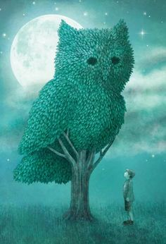 On a moonlit night, a whimsical gardener turns a tree into a topiary of a giant owl. Wonderful art created by Eric Fan. Canvas Artwork, Canvas Wall Art, Canvas Prints, Art Prints, Terry Fan, Thing 1, Unique Wall Art, Owl Art, Cool Paintings