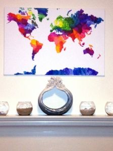 DIY map of the world with crayons!