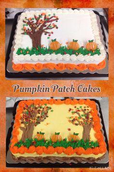 Fall Pumpkin Patch Sheet Cakes More (autumn cupcakes decoration) Pumpkin Patch Cake, Pumpkin Patch Birthday, Pumpkin Sheet Cake, Creative Cake Decorating, Cake Decorating Techniques, Creative Cakes, Fall Birthday Cakes, Birthday Sheet Cakes, Birthday Ideas