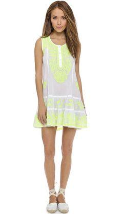 Juliet Dunn Neon Embroidery Beach Dress