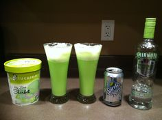Adult Grinch Punch: scoop lime sorbet into a glass, add 2 ounces white grape vodka, then top with Sprite. Great holiday drink!