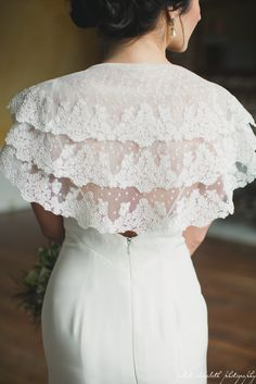Love this three tiered lace capelet with polka dot fabric detailing on the Wisteria.  www.edith-elan.com