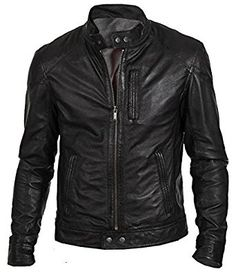 Slim fit Biker Hunt Biker Men's Black Faux Leather Jacket: Amazon.co.uk: Clothing