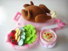 Chicken and Salad Party 3 PDF Felt Pattern by julyhobby on Etsy