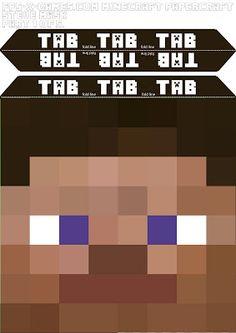 Minecraft Steve head mask template 1-5