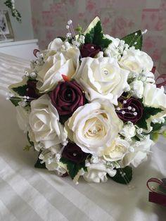 Ivory & burgundy artificial bouquet