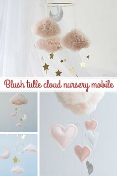 I love this dreamy baby girl room decor. The blush tulle cloud mobile is gorgeous. #ad #homedecor #nurseryroomdecor #kidsroomdecor #blush #mobile #tulle #clouddecor