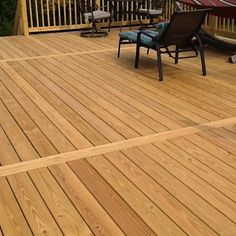 A 20 by 28 treated wood deck with two sets of steps and wood lattic enclosed Wood Deck Boards, Wood Patio, Low Deck, Deck With Pergola, Pergola Ideas, Pvc Decking, Backyard Ideas, Deck Patterns, Landscaping Around Deck