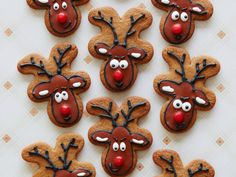 These cookies turn gingerbread its head — literally. Flipping gingerbread men upside down provides the perfect shape to decorate the cookies to look like reindeer. Leave some out for Santa and his reindeer and they will most certainly be impressed. Gingerbread Reindeer, Gingerbread Man Cookie Cutter, Reindeer Cookies, Santa And His Reindeer, Gingerbread Recipes, Reindeer Food, Cookie Cutters, Best Christmas Cookies, Holiday Cookies