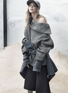 The Last Magazine: SASHA PIVOVAROVA, Fashion, Fall 2013, Grey, Cozy, Coats, Knit, Sweaters Women's Fashion | DeSmitten