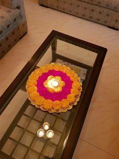 Rangoli on table HappyShappy - India's Own Social Commerce Platfo - Home decor Rangoli Designs Flower, Rangoli Designs Diwali, Rangoli Ideas, Flower Rangoli, Diwali Decorations At Home, Festival Decorations, Flower Decorations, Wedding Decorations, Diwali Craft