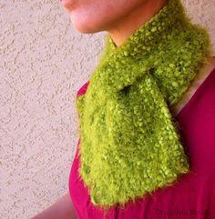 Green Scarflette  Soft Fuzzy Short Scarf  Fig by DragoninKnots, $40.00