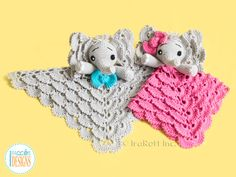 Crochet Pattern PDF for making an adorable Elephant Lovey Security Blanket for Kids and Babies ~ this is a cute lovey your child will love ~ intermediate level ~ many diagrams & step-by-step photos ~ CROCHET