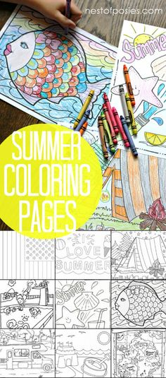 Summer Coloring Pages. Quick boredom busters without a big mess. Including beach & camping themed pages and much more!