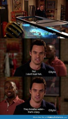 I also don't trust fish Nick Miller. New Girl. New Girl Quotes, Tv Quotes, Movie Quotes, Funny Quotes, New Girl Memes, Nick New Girl, Top Des Series, Collateral Beauty, The Best