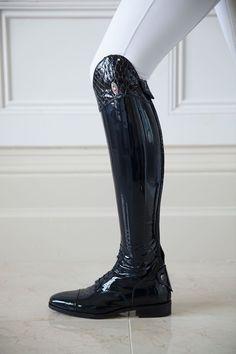Navy Patent Boots with Anaconda Trim & Swarovski Crystals