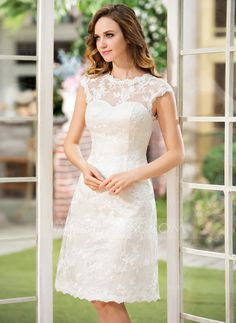 A-Line/Princess Scoop Neck Knee-Length Satin Lace Wedding Dress (002052768) Virginia reception dress