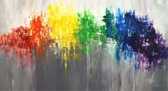"""""""Like A Rainbow L 3"""" by the artist Peter Nottrott  Contemporary art . Acrylic painting on canvas, size:  61.0""""w x 33.5""""h x 1.5""""d.  Abstracted, impressiv painting in rainbow colors. The rainbow colors red, orange, yellow, green, blue, indigo and violet are together almost magical in many different cultures at different times. Against a gray background, a rainbow-like, contrasting ribbon forms the fascinating center of the abstracted painting."""