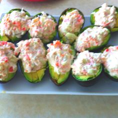 Crab stuffed Avacado 2 ripe Avacado cut in half 1/2  C cooked crabmeat  1/4 C small diced red bell pepper 1/4 C small diced cucumber   1/4  C good mayonnaise  Salt and pepper to taste ( I add a bit of chopped cilantro for color and a bit of fresh squeezed lemon)  Mix all ingredients together. Let sit to meld flavors. Slice ripe avocado in two, remove pit and dice while still In the skin.