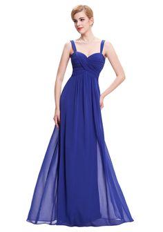 Langes Abendkleid in Blau ohne Ärmel