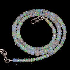 """54CRTS 3.5to6MM 18"""" ETHIOPIAN OPAL FACETED RONDELLE BEADS NECKLACE OBI2146 #OPALBEADSINDIA"""
