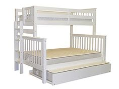 Bedz King Mission Style Twin Over Full White Bunk Bed with End Ladder and Twin Trundle *** Want to know more, click on the image.