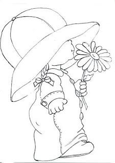 Artes da Nique: Riscos Variados could use as a sun bonnet. Hand Embroidery, Machine Embroidery, Embroidery Designs, Applique Patterns, Quilt Patterns, Sunbonnet Sue, Coloring Book Pages, Digi Stamps, Copics
