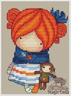 Easy Cross Stitch Patterns, Dmc Cross Stitch, Simple Cross Stitch, Stitch Doll, Pippi Longstocking, Needlepoint Patterns, Paper Folding, Cute Pattern, Amigurumi Doll