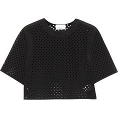 3.1 Phillip Lim Laser-cut scuba top ($200) ❤ liked on Polyvore featuring tops, crop top, shirts, black, loose crop top, black top, boxy top, loose fitting tops en shirts & tops