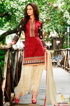 Buy online red cream jacquard punjabi patiala salwar suit with price. Shop this designer wedding wear salwar suit with free shipping charges and COD in India. #salwarsuit, #salwarkameez, #patialadress, #designerdresses, #weddingwearsalwarsuit, #punjabistylesalwarsuit, #partywearsalwarsuit, #Indianweddingwearsuit More : http://www.pavitraa.in/store/designer-dresses-collection/ Call / WhatsApp : +91-76982-34040  E-mail: info@pavitraa.in