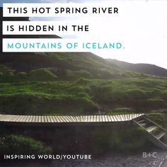 Watch this travel video to learn about a hot springs river hidden in the mountains of Iceland.