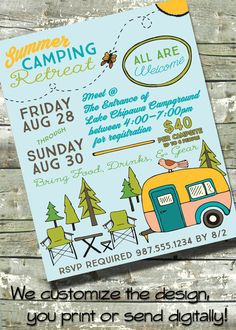 "Summer Camping Retreat ~ Community Camping Trip  ~ Church or School Event ~ 8.5""x11"" Poster FLYER ~ 5""x7"" Digital Invite Invitation by DitDitDigital on Etsy"