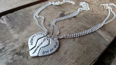 Personalized 3 Part Heart Necklace ~ Godmother God Daughter Gift ~ Mother Daughter Necklace - pinned by pin4etsy.com