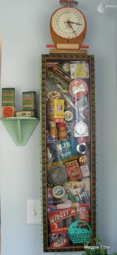 Custom cabinet with vintage kitchen items.  Could display vintage toys and memorabilia.