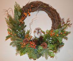 Owl Wreath Autumn Wreath Fall Wreath 18 by TheBloomingWreath Wreath Fall, Autumn Wreaths, Grapevine Wreath, Owl Wreaths, Grape Vines, Greenery, Craft Projects, Berries, Xmas