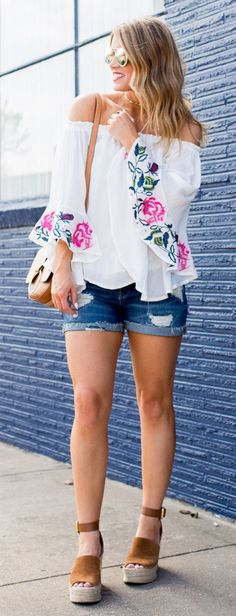 #spring #outfits  White Floral Embroidered Off The Shoulder Top & Ripped Denim Short