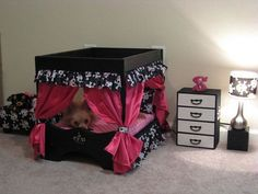 Dog Bedroom set....I bet I could make something like this myself for my spoiled rotten dog!(570×428) #DogBeds