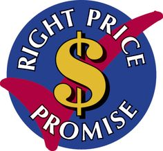 Right Price Promise logo. We'll price match same window coverings products. Austin Window Fashions