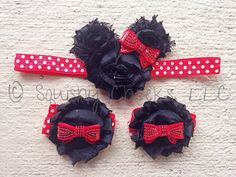 Minnie Mouse Headband, Minnie Mouse Barefoot Sandals, Minnie Mouse Birthday, Baby Headband, Minnie Mouse Accessories by BabySquishyCheeks on Etsy https://www.etsy.com/listing/213791729/minnie-mouse-headband-minnie-mouse