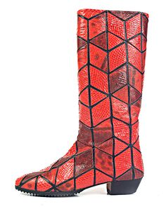 Andrea Pfister's Red snakeskin mosaic boots. Italy. ^^19 • about Pfister: http://eng.shoe-icons.com/resources/designers.htm?id=116