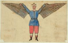Humorous portrayal of a man who flies with wings attached to his tunic. Published between 1800-1830. From the Tissandier Collection. Library of Congress Prints and Photographs Division.