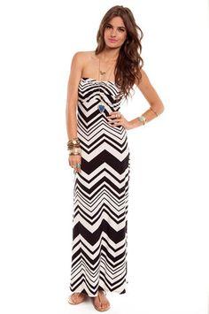 McZagger Strapless Maxi Dress in Black and White $32 at www.tobi.com