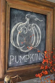 Three Pixie Lane: Pumpkins, Pumpkins and More Pumpkins! Frame chalk board paint on tour front porch or in the home!!